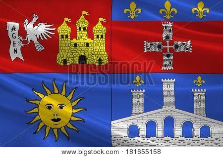 Flag of Lot-et-Garonne is a department in the southwest of France. 3d illustration