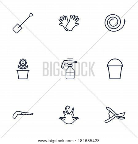 Set Of 9 Horticulture Outline Icons Set.Collection Of Pail, Arm-Cutter, Safer Of Hand Elements.