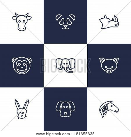 Set Of 9 Beast Outline Icons Set.Collection Of Dog, Rabbit, Rhino And Other Elements.
