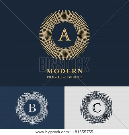 Abstract Monogram template. Modern elegant luxury logo design. Letter emblem A B C. Mark of distinction. Fashion universal label for brand name company business card badge. Vector illustration