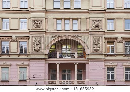 House with moulding in city center of Moscow Russia
