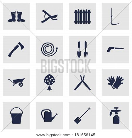 Set Of 16 Horticulture Icons Set.Collection Of Latex, Spray Bootle, Scissors And Other Elements.
