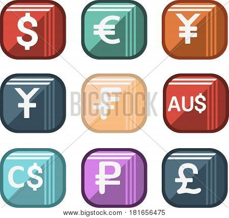 Icons of world currencies, set the most popular currencies in the world