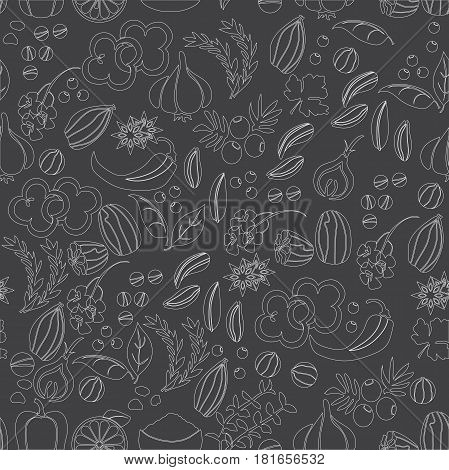 Pattern with hand drawn vector spices and herbs. Medicinal, cosmetic, culinary plants - vector