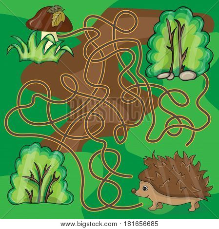 Maze game Help hedgehog to find a way to mushrooms - vector