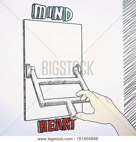 Sketch of hand switching to heart from mind mode
