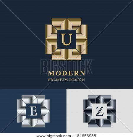 Modern logo design. Geometric linear monogram template. Letter emblem U E Z. Mark of distinction. Universal business sign for brand name company business card badge. Vector illustration