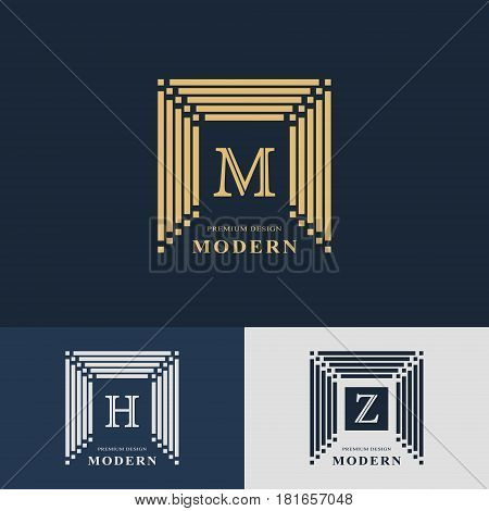 Modern logo design. Geometric linear monogram template. Letter emblem M H Z. Mark of distinction. Universal business sign for brand name company business card badge. Vector illustration