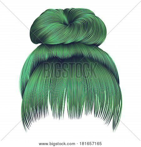 bun  hairs with fringe green colors . women fashion beauty style .