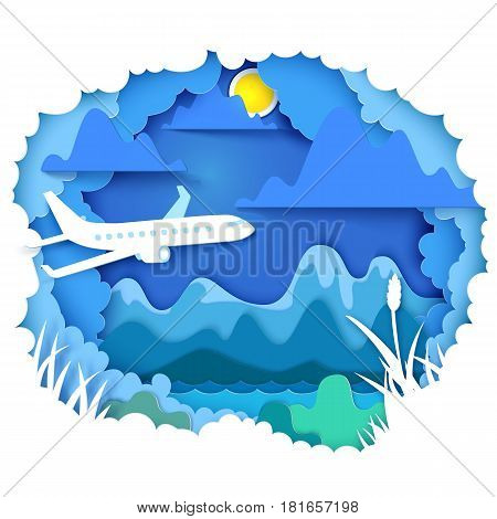 Vector illustration. Paper art and craft style. Cloudy sky appears through layers with airplane. Mountains, sun, river - landscape concept. Paper cut for the theme of travel, vacation, adventure
