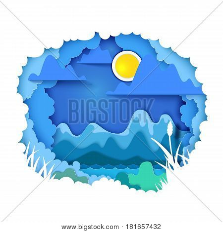 Vector illustration. Paper art and craft style. Cloudy sky appears through layers. Mountains, sun, river - landscape concept. Paper cut for the theme of travel, vacation, adventure. Tonnel book