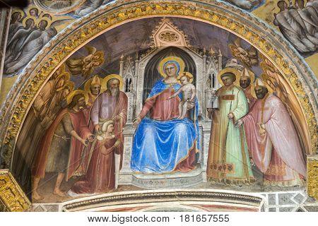 PADUA ITALY - MAY 3 2016: The frescos in Baptistery of Duomo or The Cathedral of Santa Maria Assunta by Giusto de Menabuoi (1375-1376).