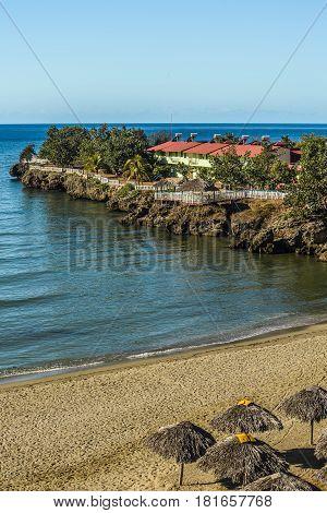Tropical turquoise sea and coast Yaguanabo, Cuba.