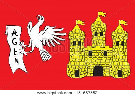 Flag of commune of Agen is the prefecture of the Lot-et-Garonne department in Nouvelle-Aquitaine in southwestern France