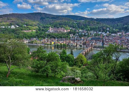 Panoramic views of the old town of Heidelberg at the river Neckar