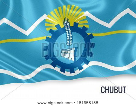 Argentinian state Chubut waving on an isolated white background. State name is included below the flag. 3D rendering.