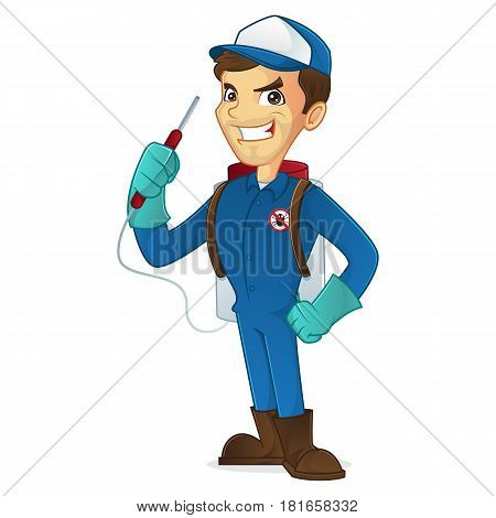 Exterminator holding pest sprayer isolated in white background
