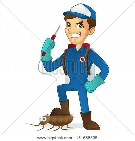 Exterminator killing bug holding pest sprayer isolated in white background