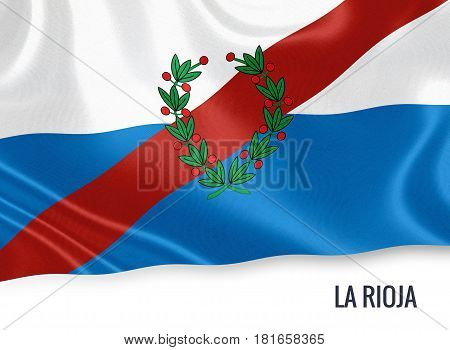 Argentinian state La Rioja waving on an isolated white background. State name is included below the flag. 3D rendering.