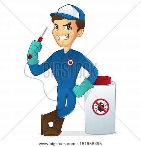 Exterminator leaning on pest sprayer isolated in white background