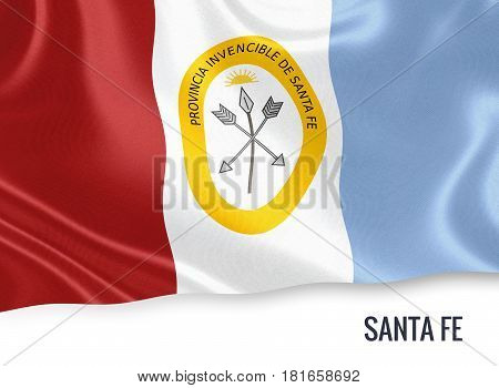 Argentinian state Santa Fe waving on an isolated white background. State name is included below the flag. 3D rendering.