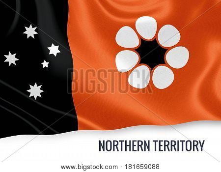 Australian state Northern Territory flag waving on an isolated white background. State name is included below the flag. 3D rendering.