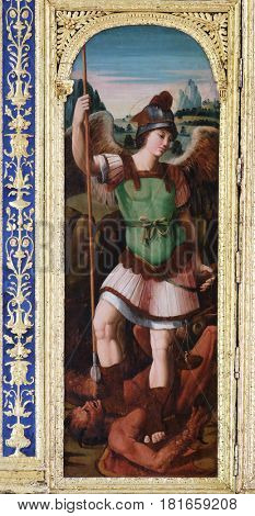 DUBROVNIK, CROATIA - NOVEMBER 8: Saint Michael on the altar of the Resurrection of Jesus in the Franciscan church of the Friars Minor in Dubrovnik, November 8, 2016.
