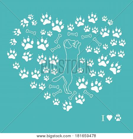 Nice Picture Of Dog Standing On Its Hind Legs Silhouette On A Background Of Dog Tracks And Bones In