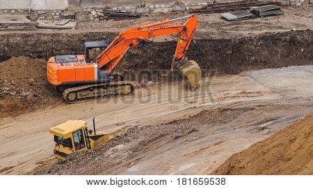 Bulldozer Working Hard At The Construction