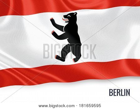 German state Berlin flag waving on an isolated white background. State name is included below the flag. 3D rendering.