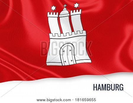 German state Hamburg flag waving on an isolated white background. State name is included below the flag. 3D rendering.