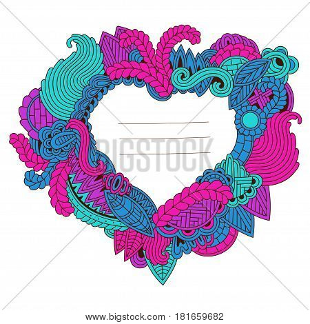 on white background. Zentangle pattern. Heart of leaves waves and other elements for wedding invitation t-shirt post cards
