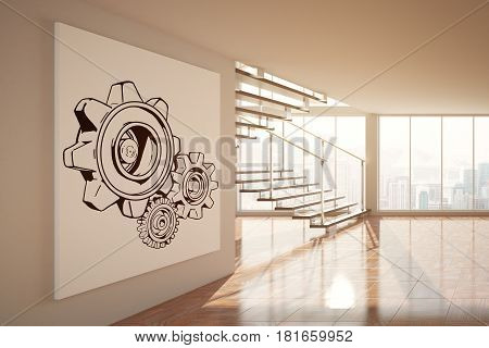 Bright unfurnished interior with cogwheel sketch on poster city view stairs and sunlight. Teamwork concept. 3D Rendering. Toning