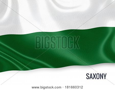 German state Saxony flag waving on an isolated white background. State name is included below the flag. 3D rendering.