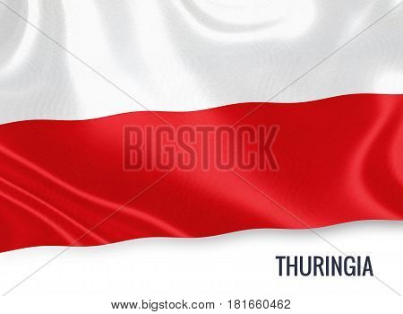 German state Thuringia flag waving on an isolated white background. State name is included below the flag. 3D rendering.
