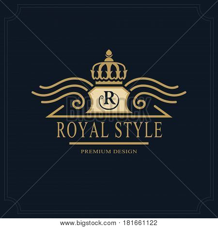 Line art Monogram luxury design graceful template. Calligraphic elegant beautiful logo. Royal style. Letter emblem sign R for Royalty Restaurant Boutique Hotel Heraldic. Vector illustration