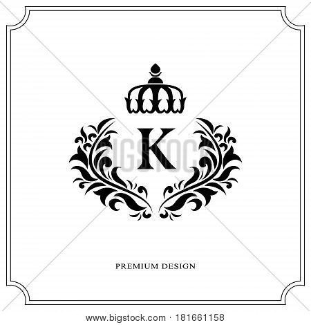 Floral Monogram luxury design graceful template. Calligraphic elegant beautiful logo. Letter emblem sign K for Royalty Restaurant Boutique Hotel Heraldic Jewelry. Vector illustration