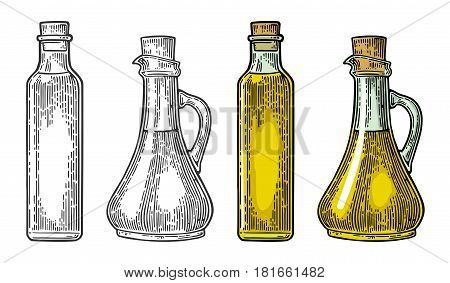 Bottle and Jug glass of liquid with cork stopper. Olive oil. Hand drawn design element. Vintage black and color vector engraving illustration for logotype, poster, web. Isolated on white background.