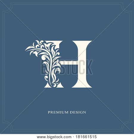 Elegant letter H. Graceful royal style. Calligraphic beautiful logo. Vintage drawn emblem for book design brand name business card Restaurant Boutique Hotel. Vector illustration