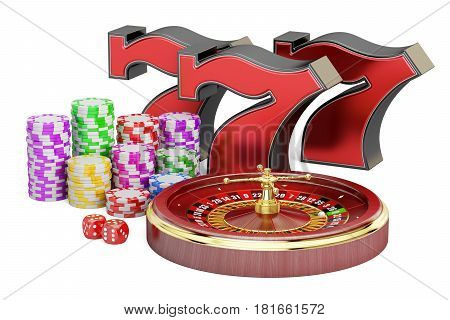 Casino gambling and jackpot concept. 3D rendering isolated on white background