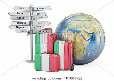 Italy travel concept. Suitcases with Italian flag signpost and Earth globe. 3D rendering