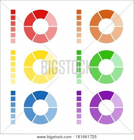 Set of circular spectrum wheels collection of rounded diagrams with the spectral colors isolated on white background infographic elements