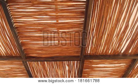 Rural house roof made of cogon grass, thatch roof background, Basketwork, Straw pattern roof background and texture.