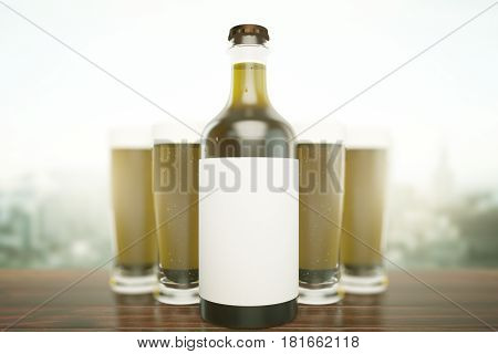 Close up of light beer bottle with blank label and full glasses on blurry city background. Ad concept. Mock up 3D Rendering