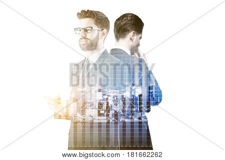 Thoughful businessmen using smartphone on abstract city background with forex chart. Teamwork concept. Double exposure poster
