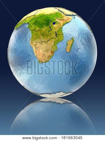 Swaziland On Globe With Reflection