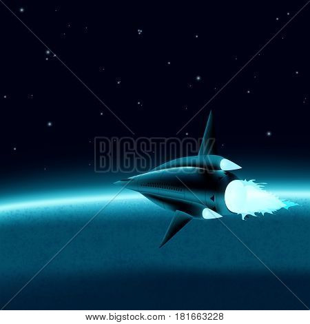 Space ship in front of a planet
