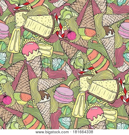 Hand-drawn cartoon ice cream doodles seamless pattern. Colorful detailed with lots of objects vector background