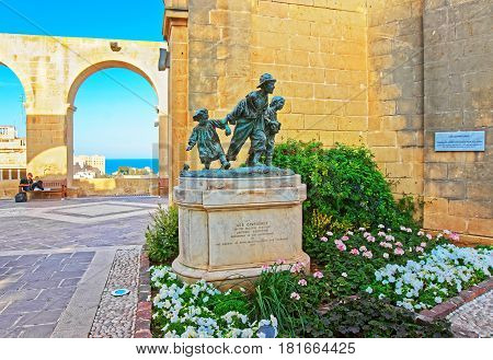 Gavroches Small Boys Sculpture At Upper Barracca Gardens Valletta Malta
