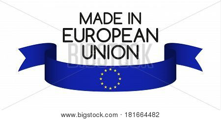 Colored ribbon with the colors of the European Union Made in European Union symbol European Union flag isolated on white background vector illustration